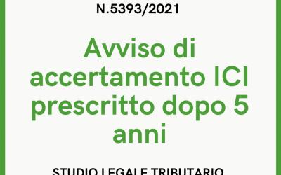 ICI PRESCRITTA DOPO 5 ANNI